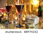 red wine in glasses champagne ... | Shutterstock . vector #88974232