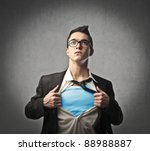 businessman showing a superhero ... | Shutterstock . vector #88988887
