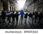 MILAN, ITALY - NOVEMBER 17: protest against economic crisis in Milan november 17, 2011. Students manifests in the streets against the economic crisis and against the banks - stock photo