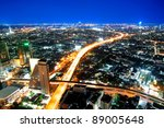 Transportation in city town at night, View Point on a Sky Bar at Sirocco, Bangkok, Thailand