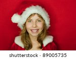 christmas surprised little angel | Shutterstock . vector #89005735