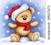 Cute Teddy Bear Wearing Santa'...