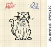 sketch funny cat  vector... | Shutterstock .eps vector #89041630