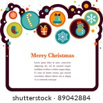 christmas background with cute... | Shutterstock .eps vector #89042884