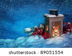 burning lantern in the snow at... | Shutterstock . vector #89051554
