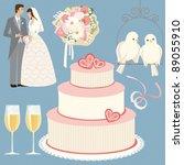 wedding set   lace | Shutterstock .eps vector #89055910