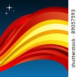 Spain flag illustration fluttering on blue background. - stock photo