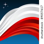 Poland flag illustration fluttering on blue background. - stock photo