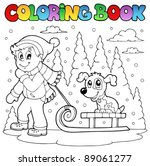 coloring book winter theme 1  ... | Shutterstock .eps vector #89061277