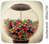 gum balls in grunge photo - stock photo