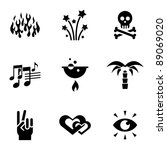 Various Black Icons On White