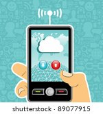 hand holding a cell phone with...   Shutterstock .eps vector #89077915