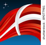 Denmark flag illustration fluttering on blue background. Vector file available. - stock vector