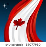 Canada flag illustration fluttering on blue background. Vector file available. - stock vector