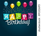 happy birthday greeting card   Shutterstock .eps vector #89102695