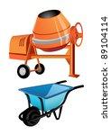 concrete mixer and wheelbarrow | Shutterstock .eps vector #89104114