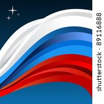 Russia flag illustration fluttering on blue background. - stock photo
