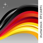 Germany flag illustration fluttering on a gray background. - stock photo