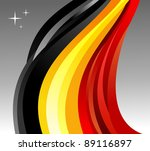 Belgium flag illustration fluttering on gray background. - stock photo