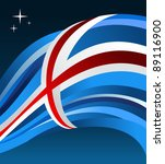 Iceland flag illustration fluttering on blue background. - stock photo