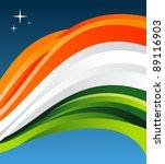 India flag illustration fluttering on blue background. - stock photo