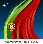 Portugal flag illustration fluttering on blue background. - stock photo