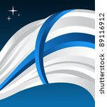 Finland flag illustration fluttering on a blue background. - stock photo