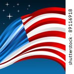 US flag illustration fluttering on blue background. - stock photo