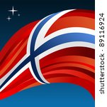 Norway flag illustration fluttering over blue background. - stock photo