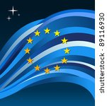 European?Union flag illustration fluttering on a gray background. - stock photo