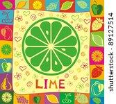 fresh lime illustration. | Shutterstock . vector #89127514