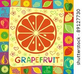 grapefruit illustration | Shutterstock . vector #89127730