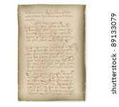 Raster version. An old manuscript. Illustration on white background - stock photo