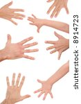 lots of human hands isolated on ... | Shutterstock . vector #8914723