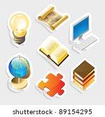 sticker icon set for education... | Shutterstock .eps vector #89154295