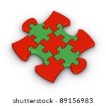 colorful jigsaw piece on white background - stock photo