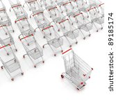 many shopping carts. 3d render. | Shutterstock . vector #89185174