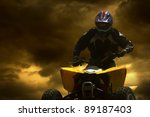 Motorcyclist silhouette at the...