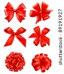 big set of red gift bows with... | Shutterstock .eps vector #89191927
