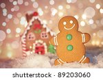 gingerbread man cookie standing ... | Shutterstock . vector #89203060