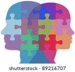 man and woman profiles face... | Shutterstock . vector #89216707