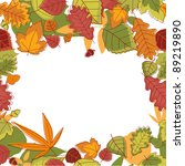 Autumn falling leaves frame for thanksgiving or seasonal design. Vector version also available in gallery - stock photo