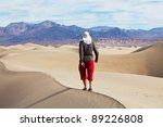 Hike in desert,Death Valley National Park,USA - stock photo