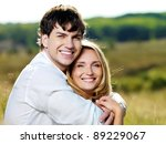 happy couple on nature | Shutterstock . vector #89229067