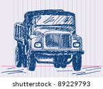 hand drawing lorry. visit my... | Shutterstock .eps vector #89229793