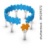 man with last jigsaw piece for puzzle wheel - stock photo