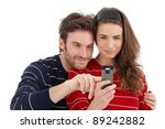 happy loving couple using... | Shutterstock . vector #89242882