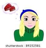 girl dreams of cake | Shutterstock . vector #89252581