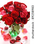Stock photo bouquet of red roses in vase on white background 89258983