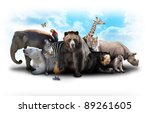 Stock photo a group of animals are grouped together on a white background animals range from an elephant 89261605